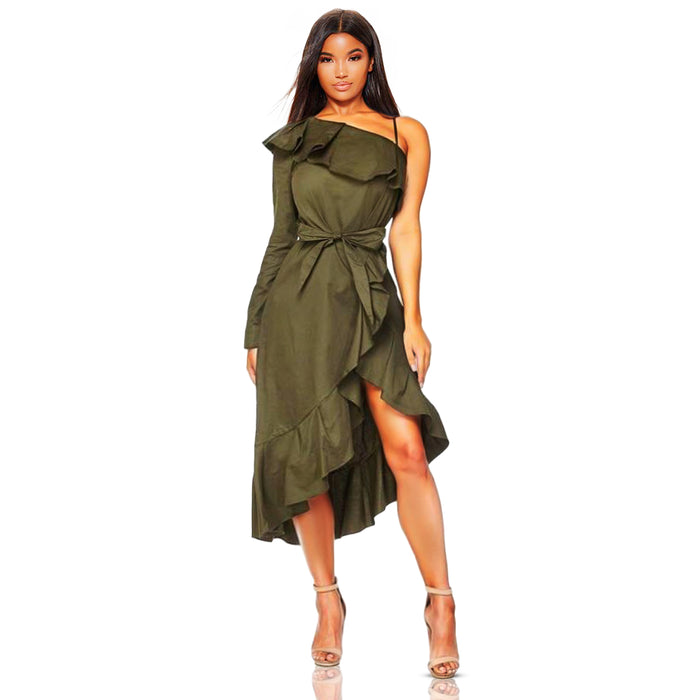 Olive green cotton dress with one sleeve design and ruffles across the front. The front of the dress offers a wrap design with a matching detachable fabric belt.