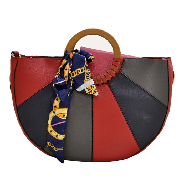 Red color block handbag