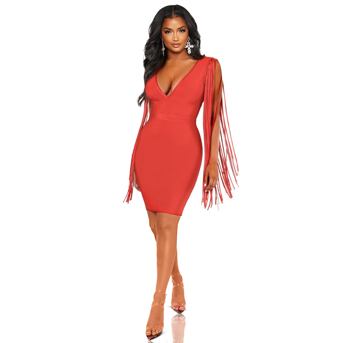 Red bandage dress with deep front vneck and fringes designed as the sleeves. Good stretch-Luxe Clothing Boutique & Accessories
