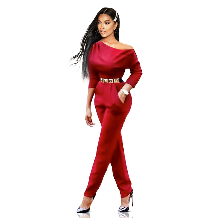 Burgundy off the shoulder  jumpsuit - Luxe Shoe Boutique & Accessories