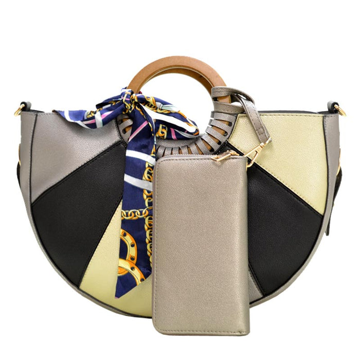 SIlver color block handbag