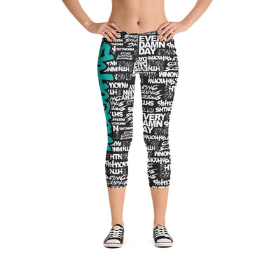 SHTNONM - CAPRI LEGGINGS (BLACK/TIFFANY MINT)