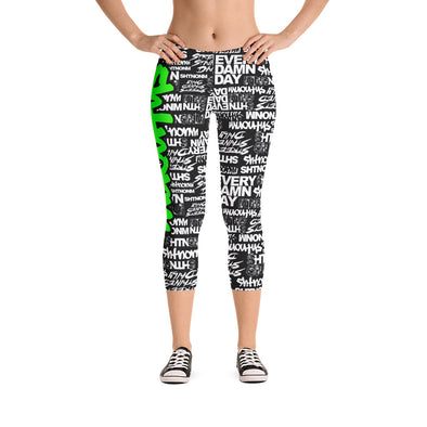 SHTNONM - CAPRI LEGGINGS (BLACK/NEON GREEN)
