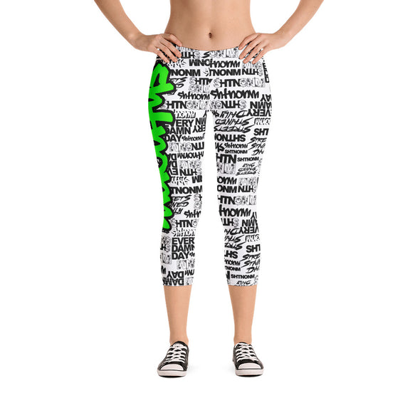 SHTNONM - CAPRI LEGGINGS (WHITE/NEON GREEN)