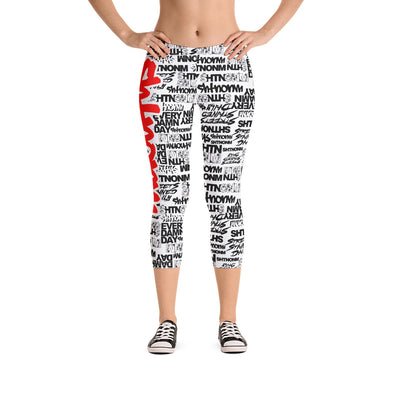 SHTNONM - CAPRI LEGGINGS (WHITE/RED)