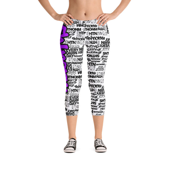 SHTNONM - CAPRI LEGGINGS (WHITE/NEON PURPLE)