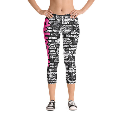 SHTNONM - CAPRI LEGGINGS (BLACK/HOT PINK)