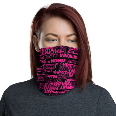 Black/Neon Pink Face Mask/Neck Gaiter