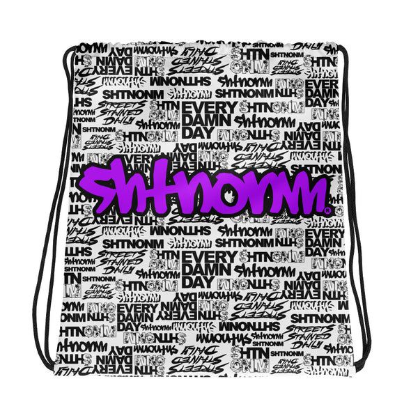 SHTNONM - White Drawstring bag (Neon Purple)