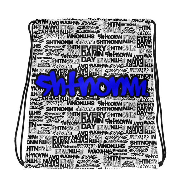 SHTNONM - White Drawstring bag (Blue)