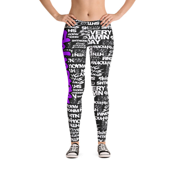SHTNONM - LEGGINGS (BLACK/NEON PURPLE)