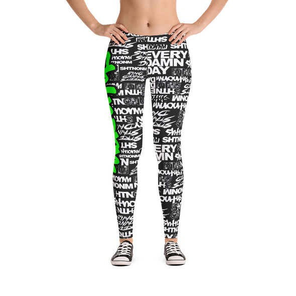 SHTNONM - LEGGINGS (BLACK/NEON GREEN)