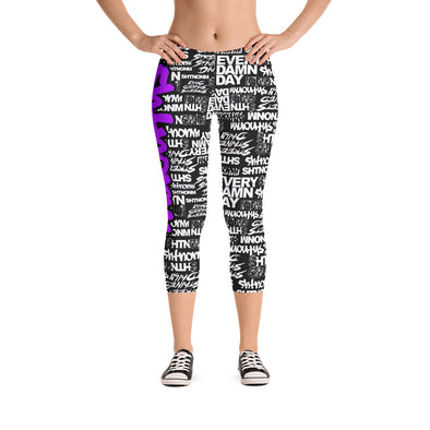 SHTNONM - CAPRI LEGGINGS (BLACK/NEON PURPLE)