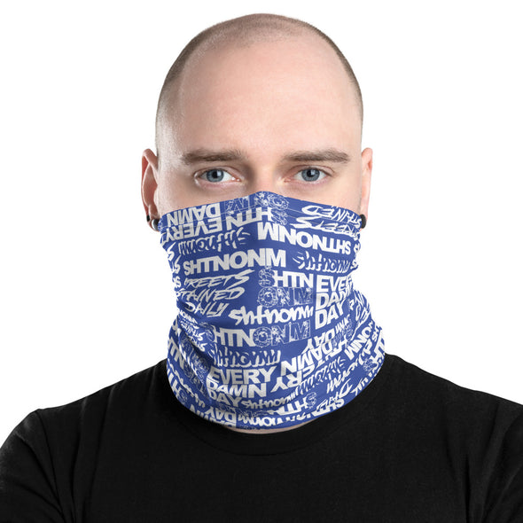 White/Blue Face Mask/Neck Gaiter