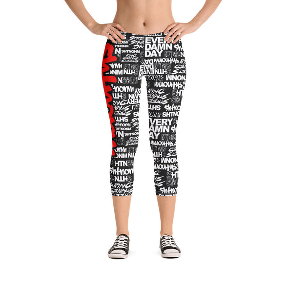 SHTNONM - CAPRI LEGGINGS (BLACK/RED)