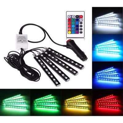 iWantZone.com-4-Piece Multicolored LED Interior Under-dash Lighting-www.iwantzone.com-