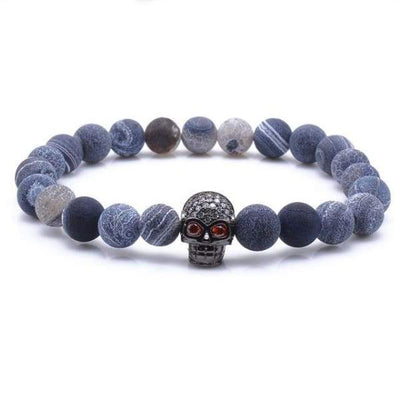 iWantZone.com-Blue Rock Stone Beaded Bracelet With Skull-iWantZone.com-Black-