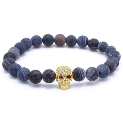 iWantZone.com-Blue Rock Stone Beaded Bracelet With Skull-iWantZone.com-Gold-