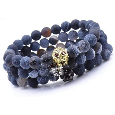 iWantZone.com-Blue Rock Stone Beaded Bracelet With Skull-iWantZone.com-