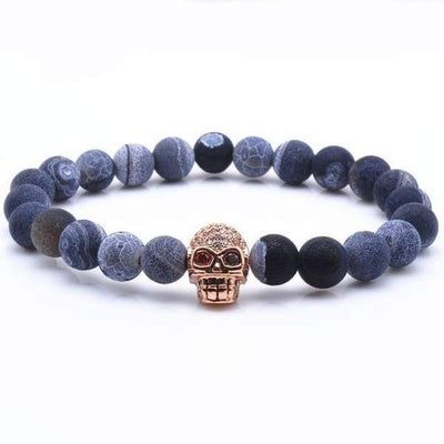 iWantZone.com-Blue Rock Stone Beaded Bracelet With Skull-iWantZone.com-Rose Gold-