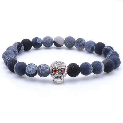 Blue Rock Stone Beaded Bracelet With Skull - Silver - rocks-stone-beaded-bracelet-with-skull-collection