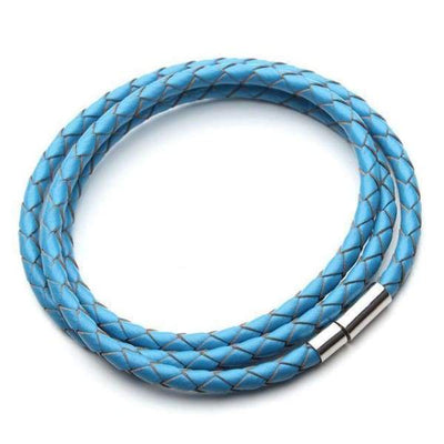 iWantZone.com-Braided Leather Bracelet Collection-iWantZone.com-blue-