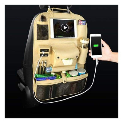 iWantZone.com-Car Back Seat Organizer With USB-Stowing Tidying-iWantZone.com-Beige-