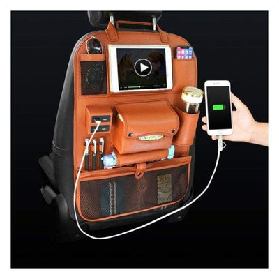 iWantZone.com-Car Back Seat Organizer With USB-Stowing Tidying-iWantZone.com-Brown-