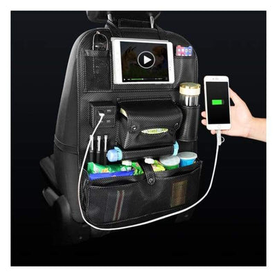 iWantZone.com-Car Back Seat Organizer With USB-Stowing Tidying-iWantZone.com-Chrome-