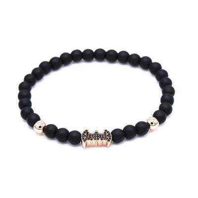 Iwantzone.com - Crown/warrior/panther/batman Charm Bracelet With Natural Stone - Batman Rose Gold -