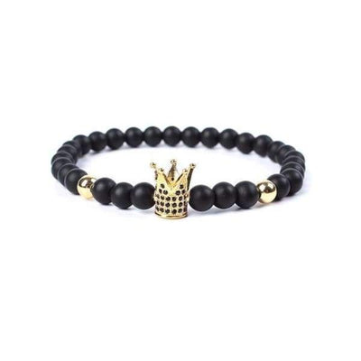 Iwantzone.com - Crown/warrior/panther/batman Charm Bracelet With Natural Stone - Crown Gold -