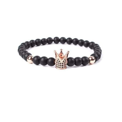 Iwantzone.com - Crown/warrior/panther/batman Charm Bracelet With Natural Stone - Crown Rose Gold -