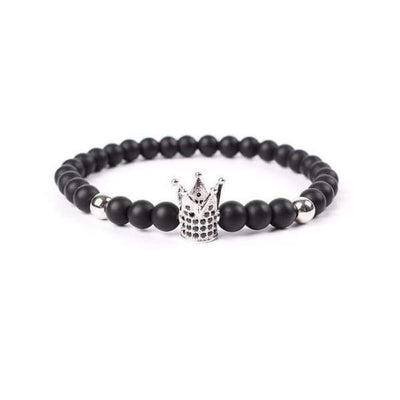 Iwantzone.com - Crown/warrior/panther/batman Charm Bracelet With Natural Stone - Crown Silver -