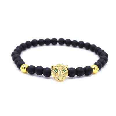 iWantZone.com-Crown/Warrior/Panther/Batman Charm Bracelet With Natural Stone-iWantZone.com-Leopard Gold-