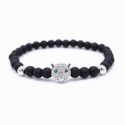 Iwantzone.com - Crown/warrior/panther/batman Charm Bracelet With Natural Stone - Leopard Silver -
