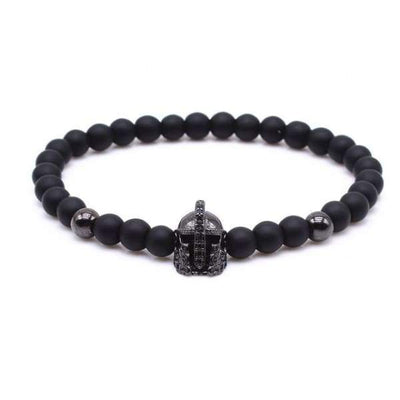 Iwantzone.com - Crown/warrior/panther/batman Charm Bracelet With Natural Stone - Warrior Black -