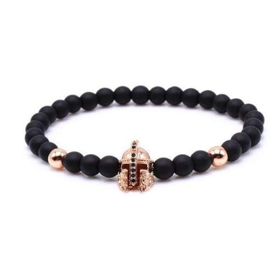 iWantZone.com-Crown/Warrior/Panther/Batman Charm Bracelet With Natural Stone-iWantZone.com-Warrior Rose Gold-