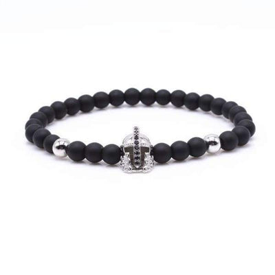 Iwantzone.com - Crown/warrior/panther/batman Charm Bracelet With Natural Stone - Warrior Silver -