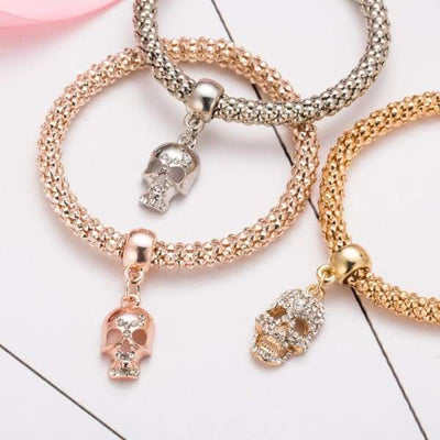 Gold Crystal Skull Bracelet 3 PCS/Set - gold-crystal-skull-bracelet-3-pcs-set