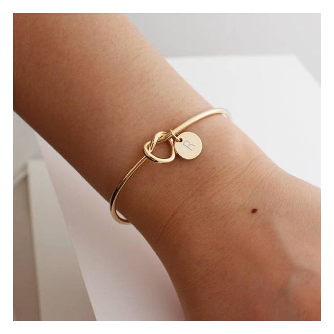 Infinity Love Knot Initial Bracelet - Bangles - infinity-love-knot-initial-bracelet