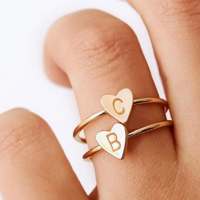 Initial Heart Ring - Rings - initial-heart-ring