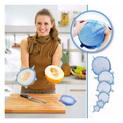 iWantZone.com-Kitchen Silicone Stretch Lids (Set of 6)-Cookware Lids-iWantZone.com-