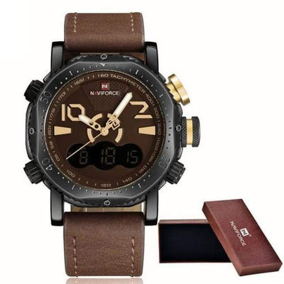 iWantZone.com-Luxury Sports Chronograph LED Display-iWantZone.com-Brown/Yellow-