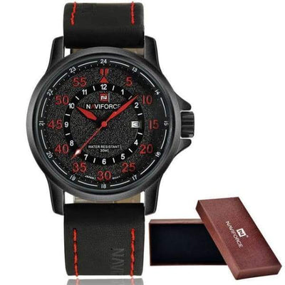 iWantZone.com-Men's 3ATM Leather Sports Watch-iWantZone.com-red-