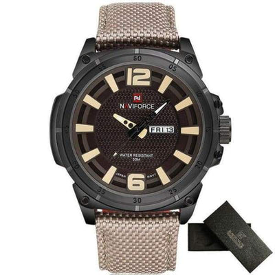 Mens Sports 3D Dial Nylon Strap - Beige - mens-sports-3d-dial-nylon-strap
