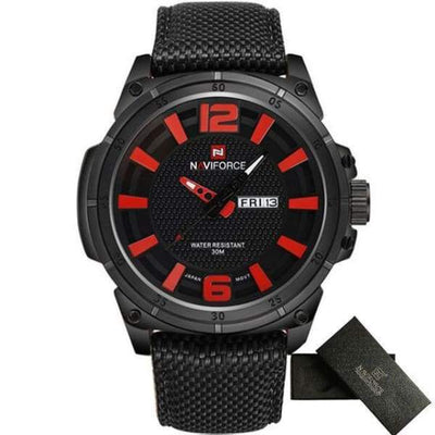 Mens Sports 3D Dial Nylon Strap - Black Red - mens-sports-3d-dial-nylon-strap