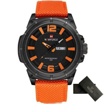 Mens Sports 3D Dial Nylon Strap - Orange - mens-sports-3d-dial-nylon-strap