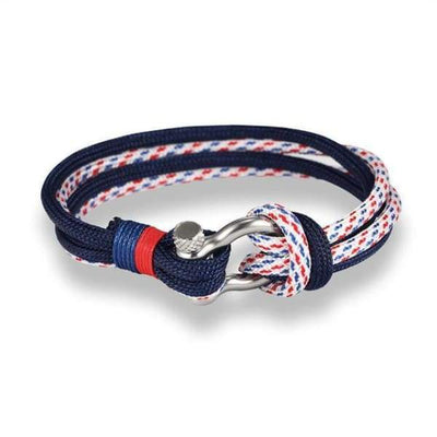 Multilayer Rope & Stainless Steel Collection - Double Blue Red - multilayer-rope-stainless-steel-bracelet