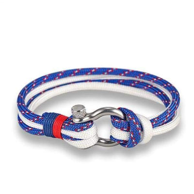 Multilayer Rope & Stainless Steel Collection - Double Blue White - multilayer-rope-stainless-steel-bracelet