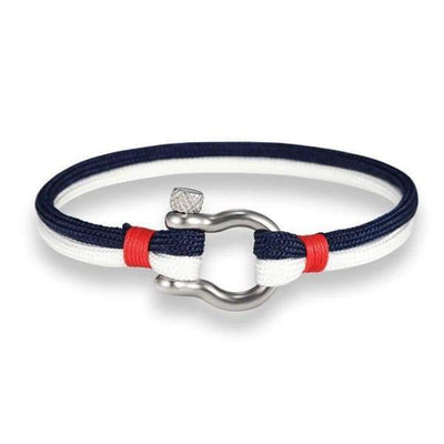 Multilayer Rope & Stainless Steel Collection - White Blue - multilayer-rope-stainless-steel-bracelet